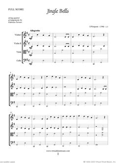 Jingle Bells for string quartet from Christmas Sheet Music and Carols, (f.score) for string quartet Christmas Carol Book, Christmas Sheet Music, Simple Christmas, Virtual Sheet Music, Digital Sheet Music, Violin Music, Violin Art, Jingle Bells Sheet Music