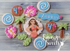 Moana full set . . #emmassweets #cookies #cookieart #edibleart #cookiesinbradford #bradfordcookies #torontocookies #cookiesintoronto #sugarart #sugarcookies #decoratedcookies #royalicing #moana #moanacookies #luau #luaucookies Moana Cookies, Luau Cookies, Disney Cookies, Sugar Cookie Royal Icing, Iced Sugar Cookies, Cookie Icing, Happy Birthday Cookie, Birthday Cookies, Moana Birthday Party