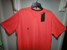 Loose Fit ( Heatgear Fabfic wicks away sweat away from your skin to keep you cool,dry, and light ). Short Sleeve Hoodie, Short Sleeves, Under Armour Backpack, V Cuts, Golf Outfit, Under Armour Men, Coral Pink, Loose Fit, Colorful Shirts