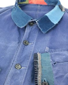 "79 Likes, 1 Comments - Sasaki-Yohinten (@vintagecustoman) on Instagram: """"SASAKI-JIRUSHI"" French vintage patched work jacket with Japanese Boro Remade by us…"""