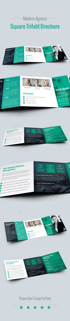 Buy Modern Agency Square Tri Fold Brochure by Ali_Sayed on GraphicRiver. Modern Agency Square Tri Fold Brochure FEATURES: This Modern Agency Square Tri Fold Brochure is well layered,and suit. Brochure Layout, Brochure Design, Brochure Template, Brochure Ideas, Corporate Design, Corporate Brochure, Company Profile Design, Brochure Inspiration, Design Inspiration