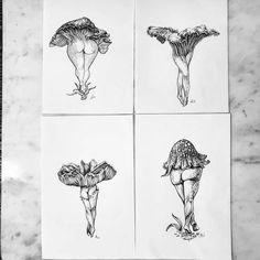 Flirtatious Fungi Pen and Ink - Mushroom- Drawing- April Alayne Mushroom Drawing, Mushroom Art, Pencil Tattoo, Art Drawings, Pencil Drawings, Flash Art, Ink Art, Art Inspo, Tatoo