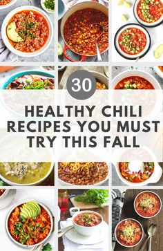 Let's kick off the new season with this delicious round up of the Top 30 Healthy Chili Recipes You Must Try This Fall. There are also vegetarian, paleo and gluten-free chilis so there's something for everyone and they will warm up your on chilly weeknights.  #chilirecipes #healthychilirecipes