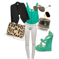 Black, Gold, Turquoise, Leopard, White Outfit