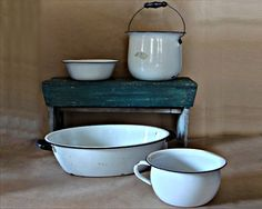 Vintage Enamel Ware Collection White Black Blue by JBHoffmantwo, $40.00