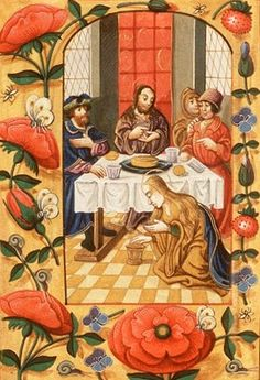 The Supper at Bethany: St. Mary Magdalene anoints Christ's feet, 1450 - 1500; 1600 - 1610. National Library of the Netherlands, Public Domain