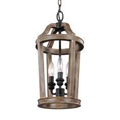 Lorenz Weathered Oak Wood Three-Light Pendant