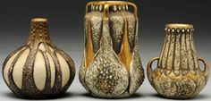AMPHORA POTTERY vases designed by Paul Dachsel, two were manufactured by Ernst Wahliss, tallest 6.25 in. H.