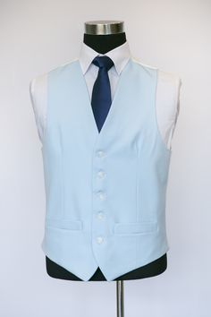 Blue Single Breasted Wool Waistcoat with Navy Tie Wedding Waistcoats, Ushers, Blue Wool, Single Breasted, Light Blue, Groom, Vest, Retail