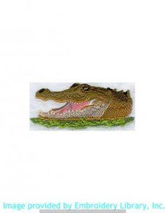 Stickmotiv Stickbild Aufnäher Stickerei Emblem Krokodil  Krokodil /  Stickerei American Alligator Head (M1262)