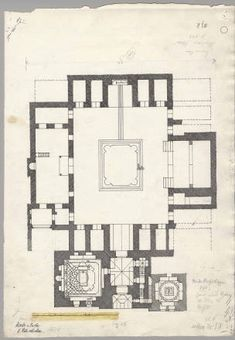 Damascus (Syria): Nur al-Din Madrasa and Tomb: plan :: The Ernst Herzfeld Papers Architectural Plan Architecture Sketch