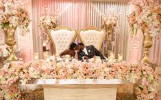 A sweetheart table designed perfectly for the King & Queen via Head Table Wedding, Bridal Table, Wedding Stage, Wedding Chairs, Wedding Goals, Dream Wedding, Sweet Heart Table Wedding, Farm Wedding, Wedding Reception