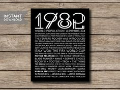 INSTANT DOWNLOAD  1982  Printable 35th Birthday or