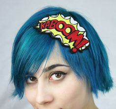 KABOOM Comic Headband Yellow red & white by JanineBasil on Etsy