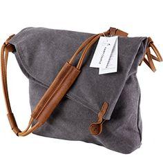 FAIRY COUPLE Unisex Canvas bag retro literary college style shoulder bag Messenger bag Korean version of C5069 (grey)