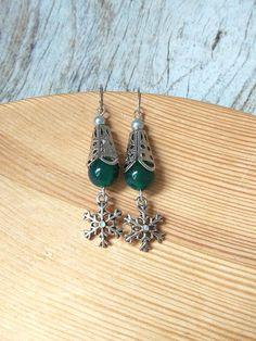 Winter green silver snowflake earrings snow queen victorian