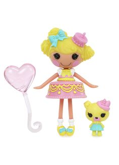 Mini Lalaloopsy™ Candle Slice O' Cake™ was made from a piece of birthday cake. She loves to throw surprise birthday parties for everyone including herself. She likes it when her friends blow out the birthday candles to help make all of their dreams come true. She has a pet Pug.