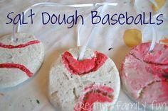 Get Crafty: Salt Dough Baseballs ~ Creative Family Fun ~ We enjoyed celebrating a summer past time with this fun kids craft. Kids Sports Crafts, Baseball Crafts, Sport Craft, Fun Crafts For Kids, Toddler Crafts, Preschool Crafts, Baseball Stuff, Family Crafts, Sport Themed Crafts