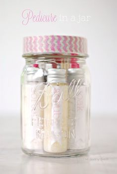 This handmade gift is a Pedicure In A Jar. I gave these cute mason jar gifts to my girlfriends this summer. gift in a jar Pedicure In A Jar ~ Mason Jar Gift Mason Jar Christmas Gifts, Christmas Crafts For Adults, Mason Jar Gifts, Christmas Diy, Christmas Presents, Homemade Christmas, Holiday Gifts, Craft Gifts, Diy Gifts