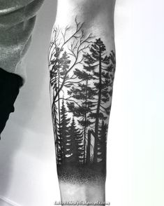 40 creative forest tattoo designs and ideas tattoo's forest Forest Tattoo Sleeve, Forest Forearm Tattoo, Nature Tattoo Sleeve, Forearm Tattoo Design, Forearm Tattoos, Tree Tattoos On Arm, Wald Tattoo, Lotusblume Tattoo, Tattoo Drawings