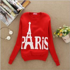 Red Paris Top Great crazy warm sweater with Eiffel Tower in the background  Sweaters