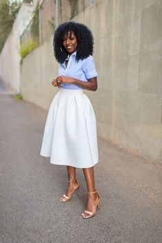 A fashion look by StylePantry featuring Topshop Premium Pinstripe Shirt, Topshop Pleat Scuba Midi Skirt, Givenchy Simple Sandals. Browse and shop related looks. Denim Blouse, Denim Outfit, Dressed To The Nines, Get Dressed, Pleated Midi Skirt, High Waisted Skirt, Midi Skirts, Style Pantry, Button Up Shirts