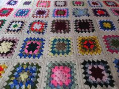 Vintage Hand Crochet Granny Square Afghan by CindysCozyClutter #vintage #afghan