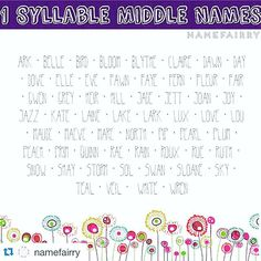 one syllable girls names middle names single syllable