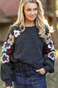New Adventures Blue Grey Embroidered Sweater Modest Fashion, Diy Fashion, Fashion Outfits, Womens Fashion, Fashion Trends, Fall Fashion, Embroidery On Clothes, Embroidered Clothes, Sweater Embroidery
