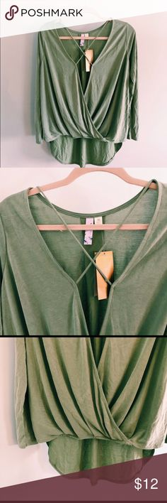 Francesca's Alya sage green wrap top, size M **brand new with tag** Bought from another posher.  It's extremely soft and super cute, too tight on my arms.  Really pretty sage green color. Lightweight. The brand is Alya from Francesca's. Francesca's Collections Tops