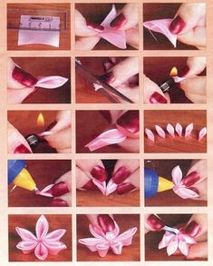 Best 12 How to Make a Simple Fabric Kanzashi Flower – SkillOfKing. Ribbon Art, Diy Ribbon, Fabric Ribbon, Ribbon Crafts, Flower Crafts, Kanzashi Tutorial, Flower Tutorial, Handmade Flowers, Diy Flowers