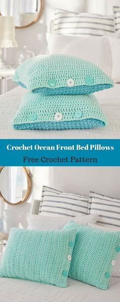 Crochet covers for regular bed pillows to add color and interest to your bed. They are designed with a different color and pattern on each side of the pillow, and have a button closure for easy wash-ability. #freecrochetpattern #freecrochet #crochet3 #easycrochet #patterncrochet #crochettricks #crochetitems #crocheton #thingstocrochet