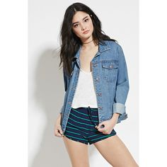 Forever 21 Women's  Stripe Dolphin Shorts ($15) ❤ liked on Polyvore featuring shorts, rayon shorts, striped shorts, forever 21, dolphin hem shorts and forever 21 shorts