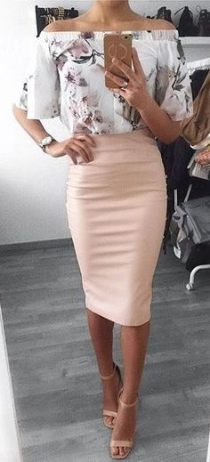 #summer #outfits White Printed Off The Shoulder Top + Pink Pencil Skirt