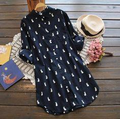 Bunny - The Rabbit-Print Shirt Dress – Burlap Apparel