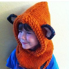 Hand Knit Fox Hood  by gcolby1