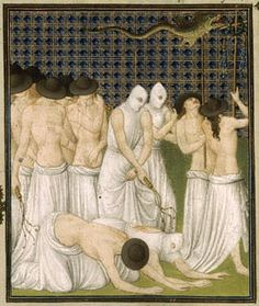 Artwork depicting penitent Flagellants; illustration from Belles Heures of Jean de France, Duc de Berry. Flagellants are practitioners of an extreme form of mortification of their own flesh through whipping. The movement received widespread popularity in the light of beliefs that the Black Death was God's punishment.
