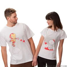 SALE!! Featuring an ironman cartoon figure, these matching his & hers couple t shirts show that love likes a superpower that gets stronger every day. BoldLoft his and hers couple shirts.