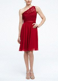 One shoulder lace and mesh dress.  Illusion one shoulder corded lace bodice with ribbon belt at waist.  Short mesh skirt is comfortable and easy to move in.  Fully lined. Back zip. Imported polyester. Dry clean only. To protect your dress, try our Non Woven Garment Bag.