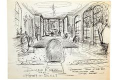 Sketch of drawing room for Kathy and Billy Raynor. Pen and pencil on paper.
