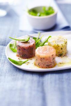Mini-tartares de la mer. Noix de Saint-Jacques-mangue et coriandre, Saumon-moutarde-aneth et Thon-olive-basilic.