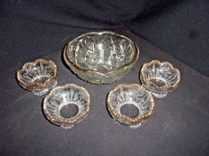 Vintage Cut Glass Fruit Bowl with Four Serving Bowls - Gold Rimmed & Beautiful!