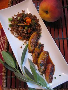 Toasted Buckwheat with Braised Peaches and Fresh Sage.   (lotusrawveganliving) original