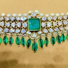 By Karni Jewellery.Bridelan - Personal shopper & style consultants for Indian/NRI weddings, website www.bridelan.com #WeddingChoker #BridalChoker #PolkiChoker #ChokerNecklace #JadauChoker #BridalJewellery #DiamondChoker #EmeraldChoker #RoyalWeddingJewellery #NizamJewellery #Polki #Jadau #IndianJewellery #TraditionalJewellery #Bridelan #BridelanIndia