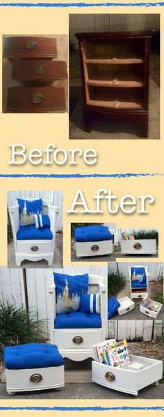 Dresser to chair! Drawer to ottoman and storage! Hand made pillows and cushions. Took 10 days from start to finish. DIY Furniture Hacks | DIY Drawer Shelves | Repurpose Dresser and Drawers #repurposedfurniturechair