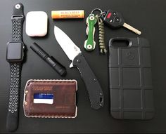 Daily EDC always keeping new items in the rotation.  submitted by Michael J Rogers II  Apple Watch 42mm  Apple Airpods  Streamlight Microstream  Burts Bees Beeswax Lip Balm  Trayvax Ascent (Tobacco Brown)  Zero Tolerance 0566sw Hinderer Folder BlackWash Knife with SpeedSafe  KeySmart Extended Key Holder (2-8 Keys Black)  Magpul field case iPhone 7 plus #edcgear
