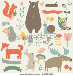 Forest animals in vector set. Cute bear, rabbit, elk, fox, hedgehog, snail, birds, squirrel, butterflies, owl, mushrooms, flowers and ribbons in cartoon style - stock vector