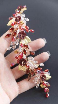 Hairstyles Videos With Clips Colorful Wire Jewelry Designs, Leaf Jewelry, Beaded Jewelry Patterns, Hair Jewelry, Bridal Jewelry, Wedding Hair Pieces, Hair Wedding, Bride Hair Accessories, Flower Headpiece