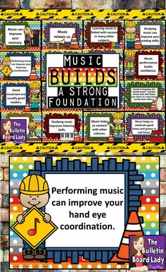 This music bulletin board features a construction theme and gives some great ideas for ways that music can build a strong foundation. Music advocacy is colorful and easy with this print and post bulletin board. Music Bulletin Boards, Reading Bulletin Boards, Winter Bulletin Boards, School Bulletin Boards, Music Classroom, Classroom Themes, Classroom Posters, Elementary Music, Upper Elementary