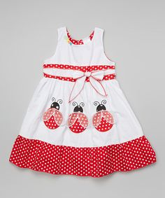 Inspiration - Look what I found on #zulily! White Polka Dot Ladybug Sash Dress - Infant Toddler & Girls by the Silly Sissy #zulilyfinds
